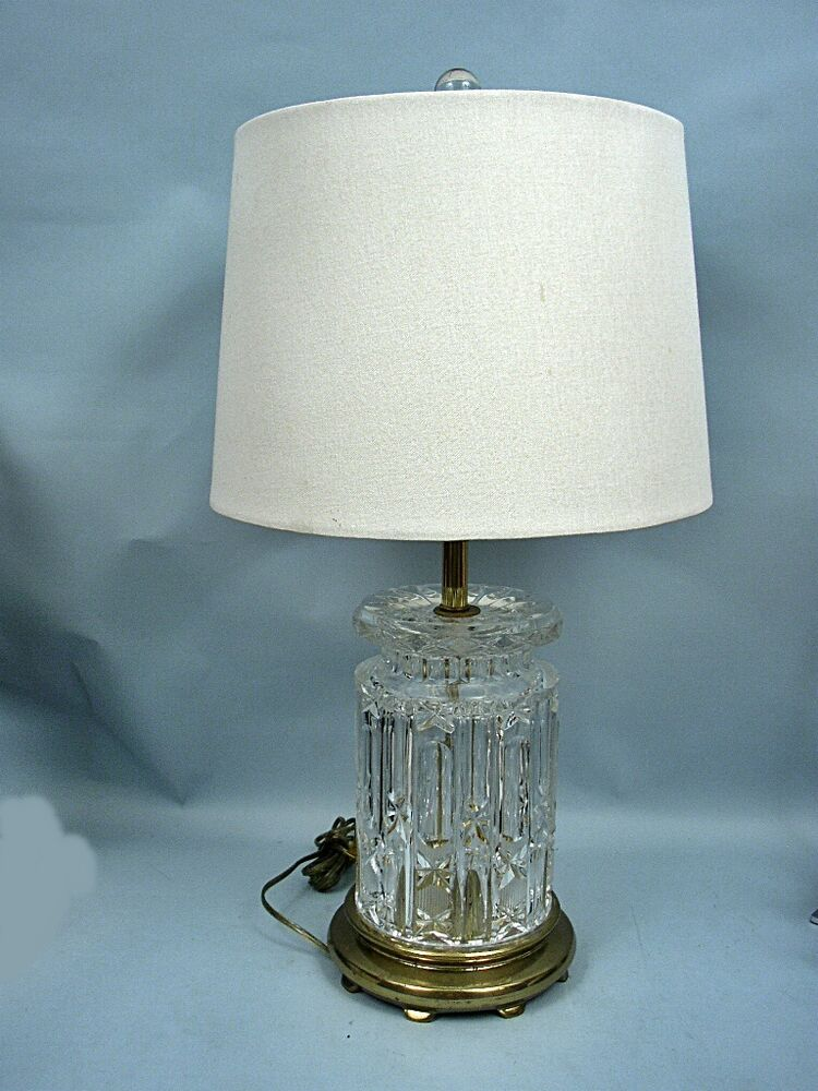 Vintage 26 Quot Lead Crystal Table Lamp With Drum Shade Amp Crystal Finial Ebay