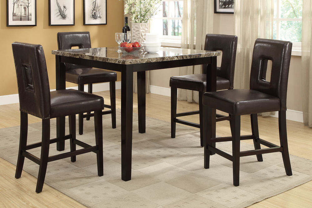 dark brown 5 pc dining set counter height dining table
