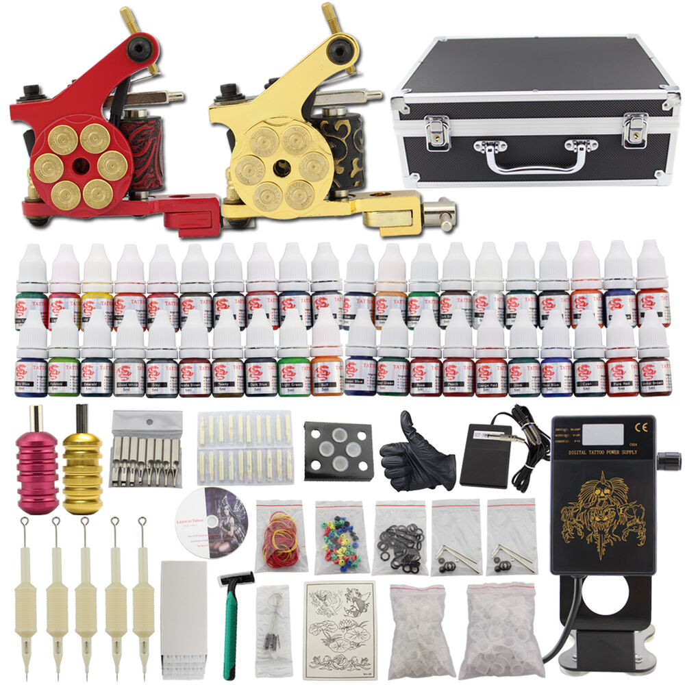 Complete starter tattoo kit 2 gun machine set case 40 inks for Tattoo supplies ebay