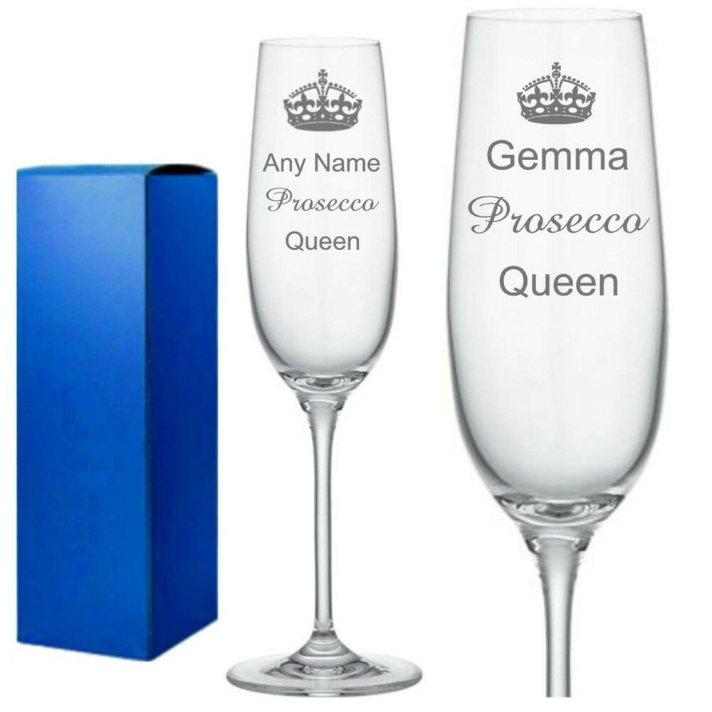 Personalised Engraved Champagne Flute Glass Birthday Prosecco Queen Wine Glass Ebay