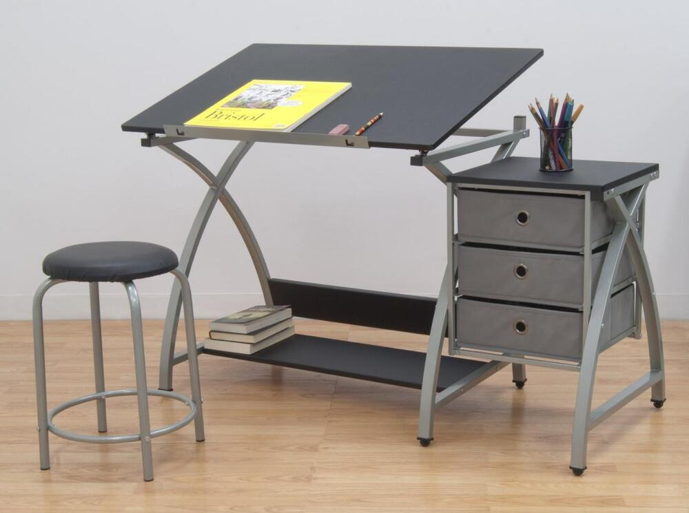 studio designs drawing table with stool station art storage artist desk craft ebay. Black Bedroom Furniture Sets. Home Design Ideas