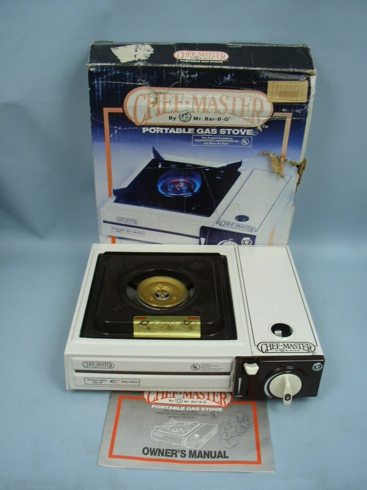 chef master portable gas stove by mr bar b que in box. Black Bedroom Furniture Sets. Home Design Ideas