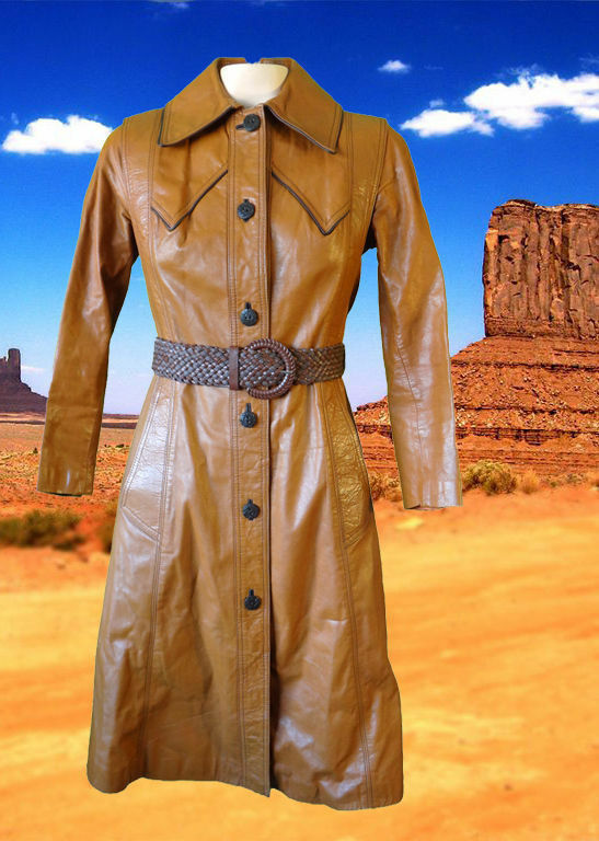Cowboy Cowgirl Duster Trench Coat Dress Leather 8 Vintage