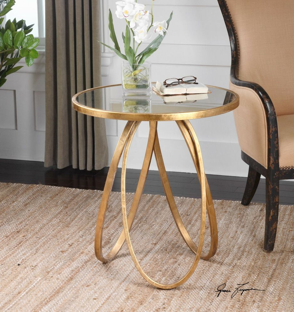 New glazed gold leaf metal round accent side end table for Round gold side table