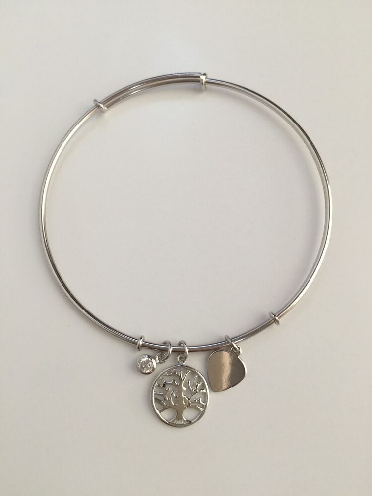 925 Sterling Silver Cz Tree Of Life Love Heart Bangle