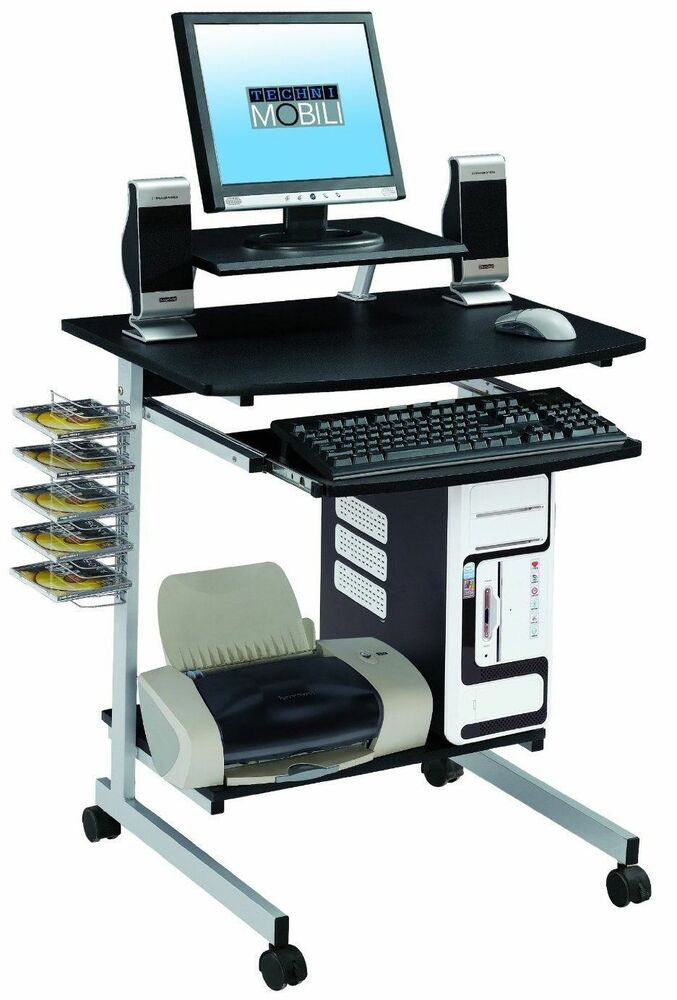 computer desk cart mobile compact desktop workstation home