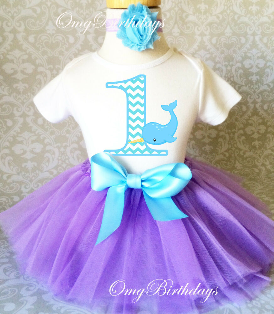 Narwhale Narwhal Blue Purple Baby Girl 1st First Birthday
