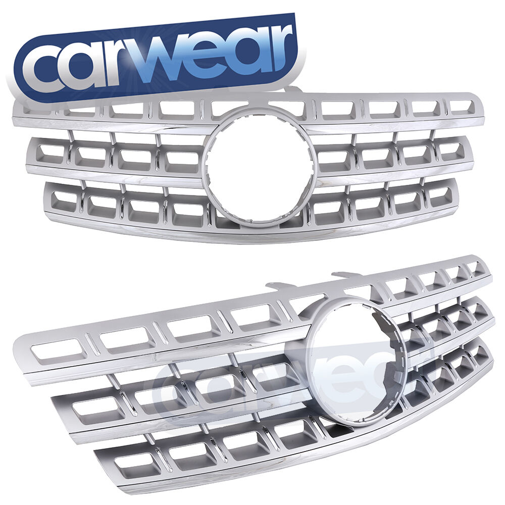 Mercedes benz w164 09 12 m class ml silver chrome grille for Mercedes benz chrome accessories