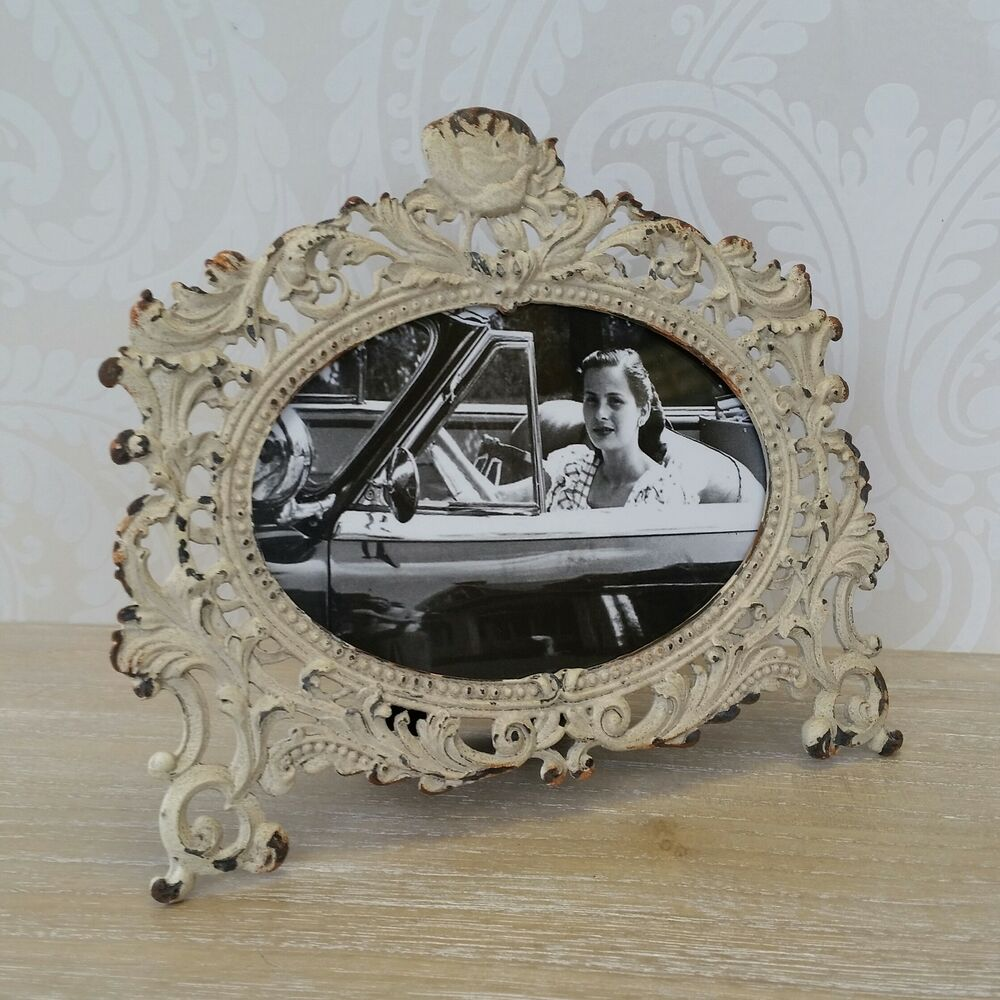 cream metal photo frame in shabby chic vintage french antique style gift ebay. Black Bedroom Furniture Sets. Home Design Ideas
