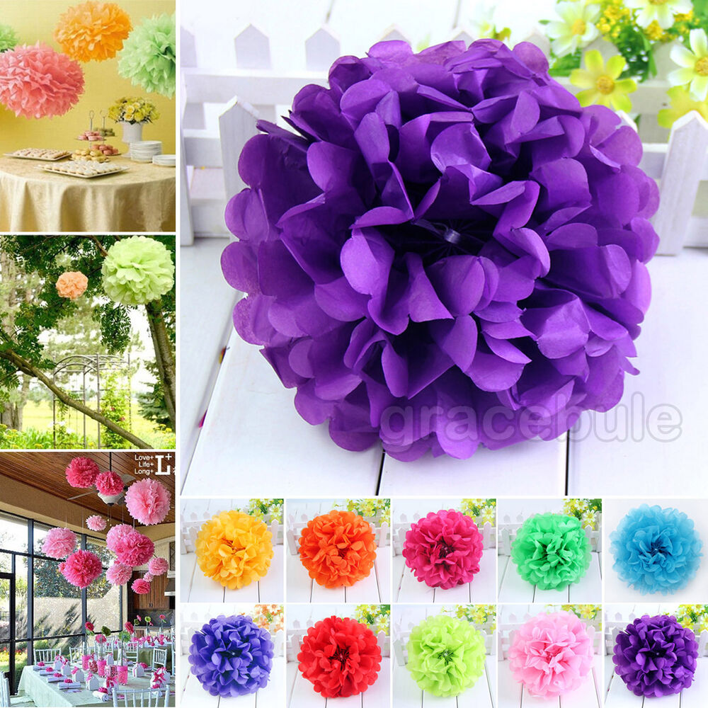 Paper Flower Balls For Wedding 1PC Colorful Tissue Paper Poms Flower Balls Hydrangea Wedding DIY