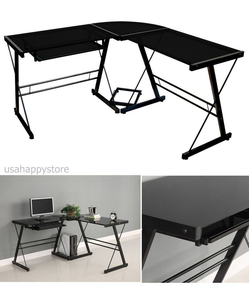 Black Glass Corner Computer Desk L Shaped Office Furniture