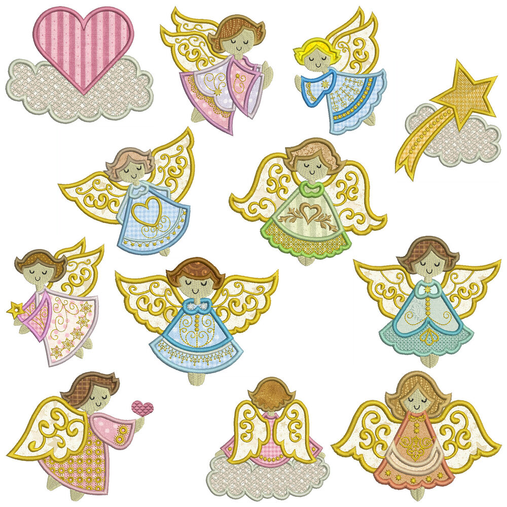 Angels machine applique embroidery patterns