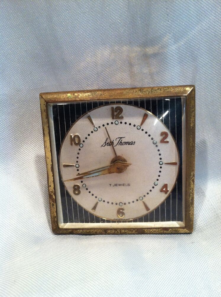 Vintage Seth Thomas 7 Jewels Travel Alarm Clock Made In