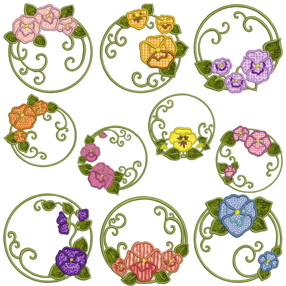 Pansies machine applique embroidery patterns