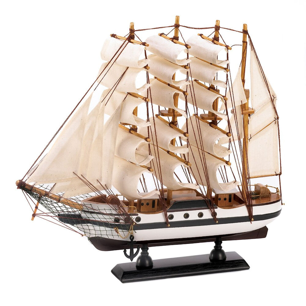 Passat tall model ship 13x12 inch boat nautical decor wood for Decoration yacht