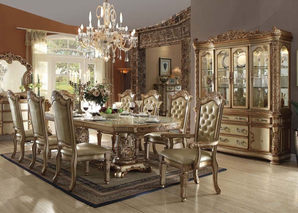Formal vendome gold patina 9 pc dining set table arm for 9 piece formal dining room sets