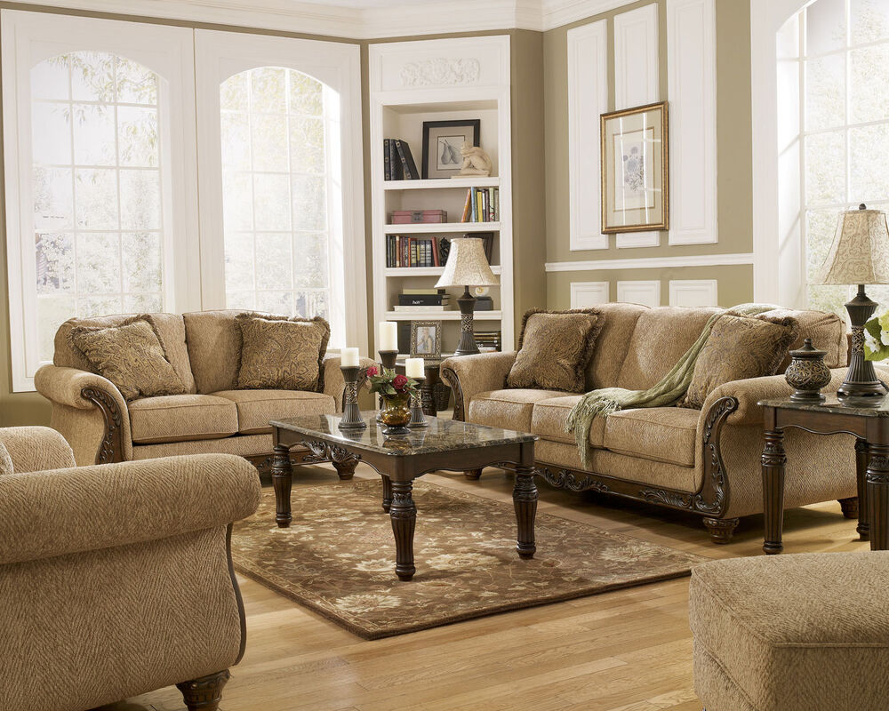 JULIAN - TRADITIONAL BROWN FABRIC WOOD TRIM SOFA COUCH SET ...