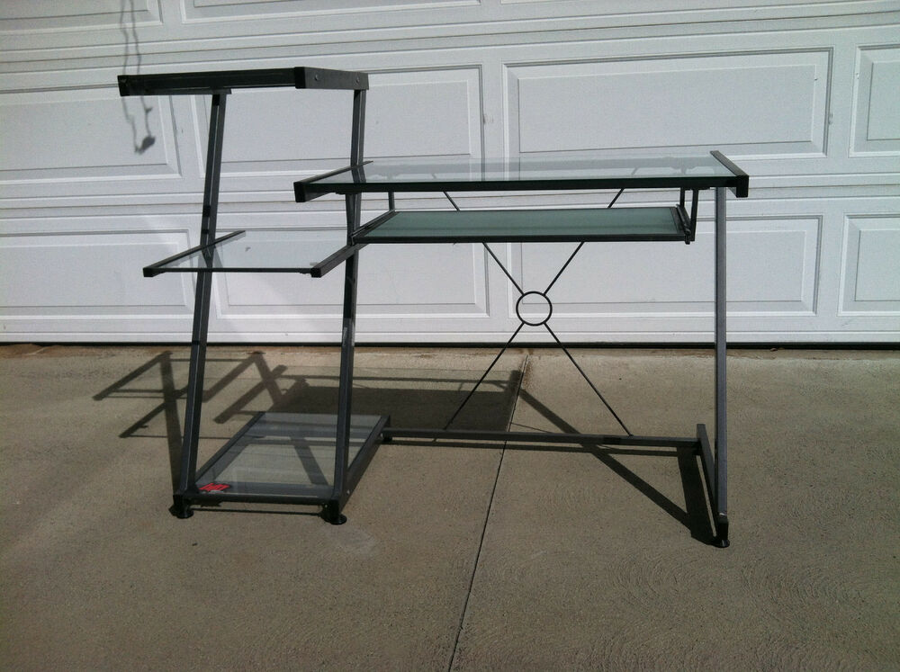 Gray metal with 5 tier glass top workstation computer for Best workstation table