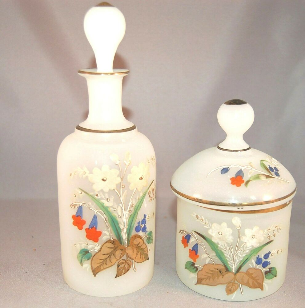 Antique super hand painted vintage satin glass powder jar Painting old glass bottles