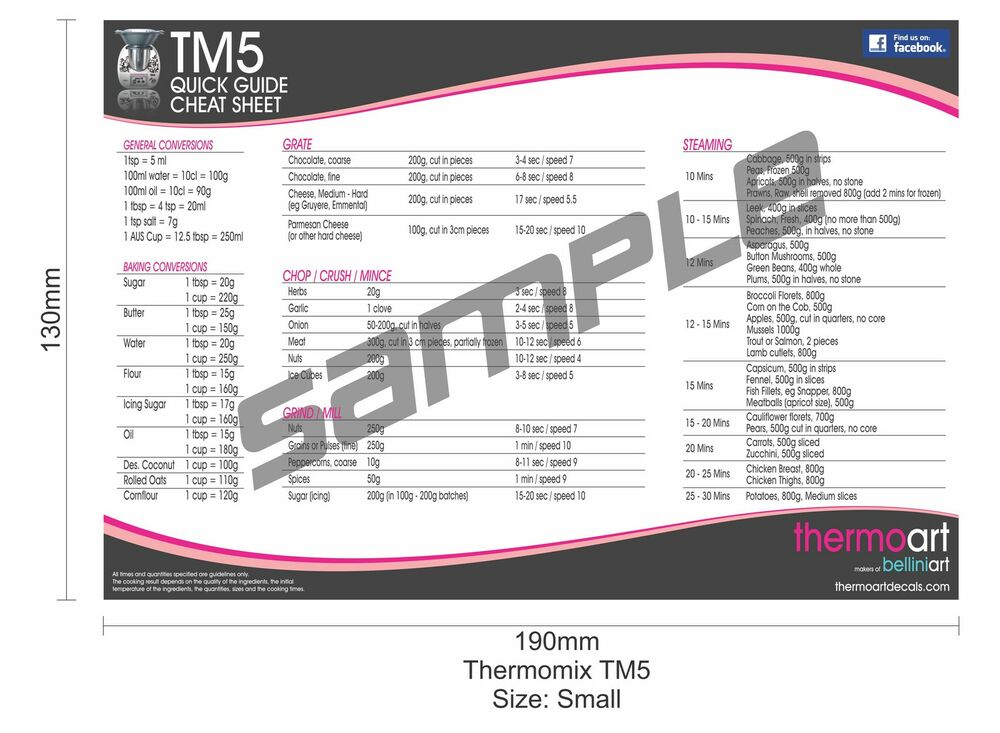 Thermomix TM5 Magnetic Quick Guide Cheat Sheet