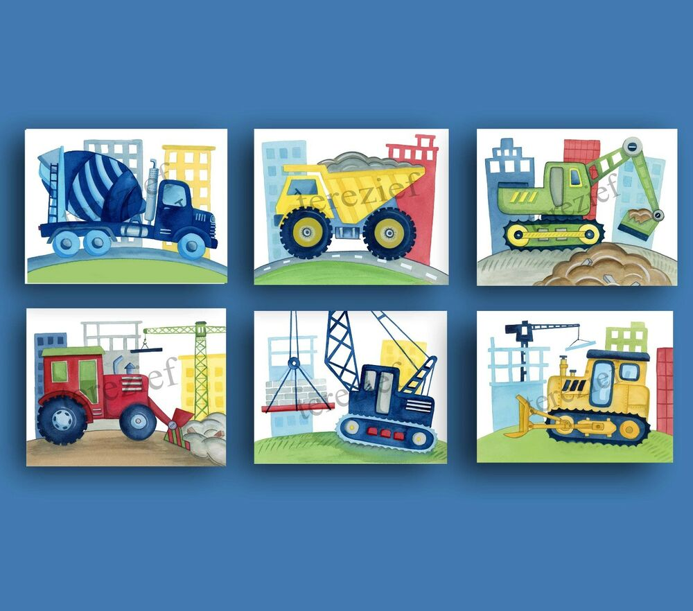 Construction vehicle car truck busy builder baby boy for Boys wall art