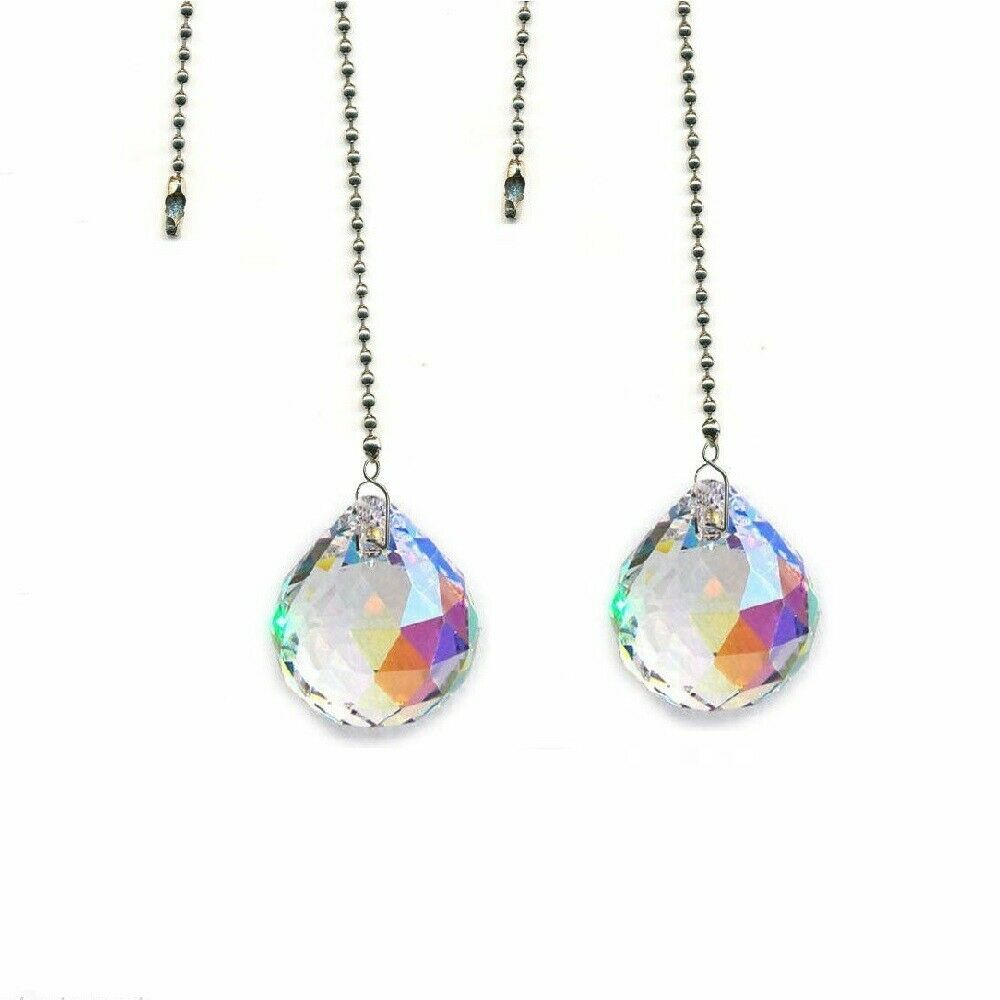 Fan Pull Chains Made With Swarovski Crystal Ab Ball Prism