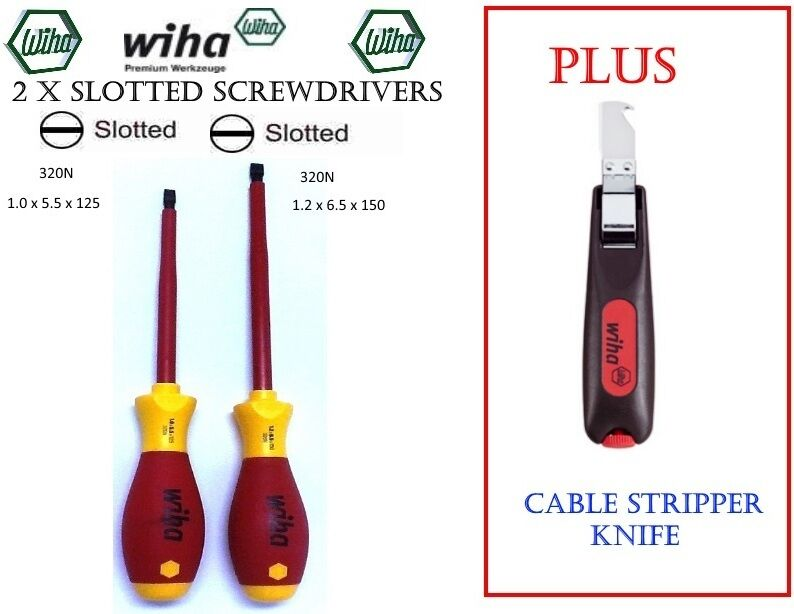new wiha 320n german made slotted screwdrivers set 2 plus cable stripper knife ebay. Black Bedroom Furniture Sets. Home Design Ideas