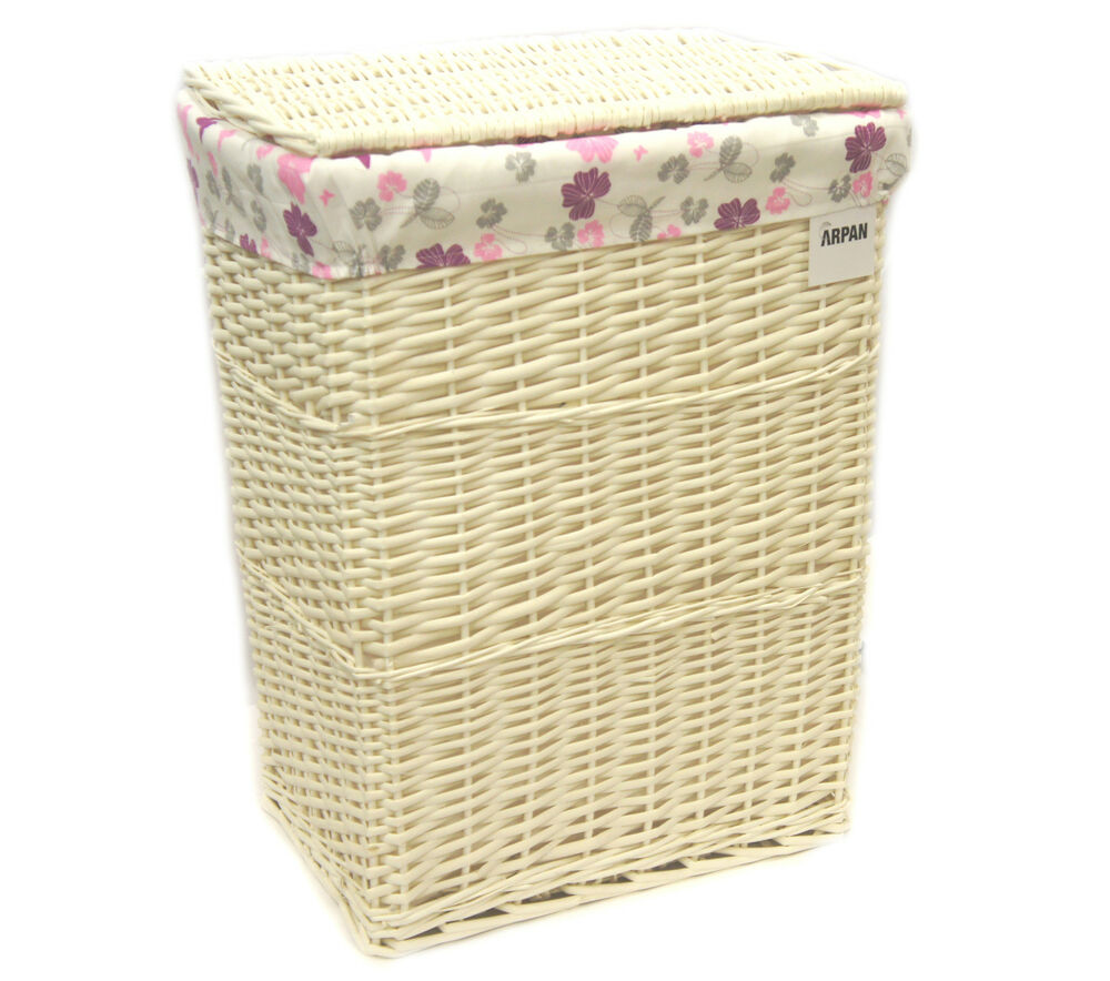 Arpan Large White Wicker Laundry Basket With Lining