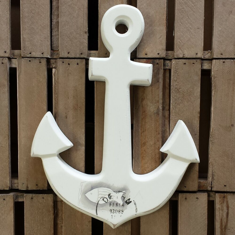 Small anchor wooden wall plaque with fish stamp print for Bathroom fish decor