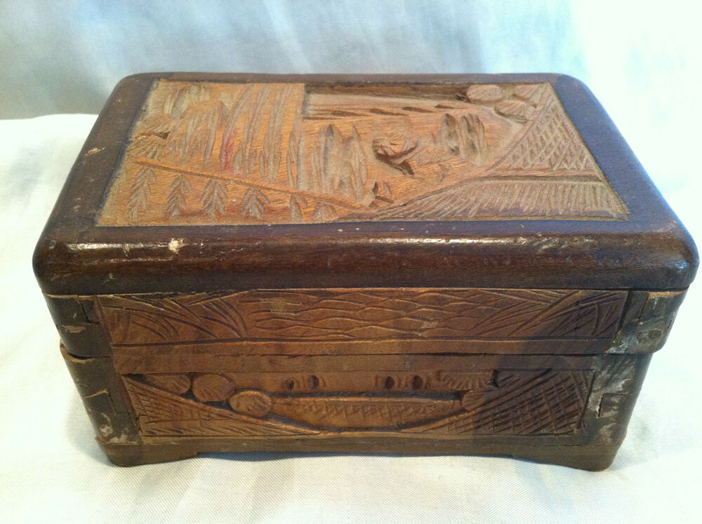 Wooden trinket box storage jewelry handmade hand carved for Jewelry box made of wood