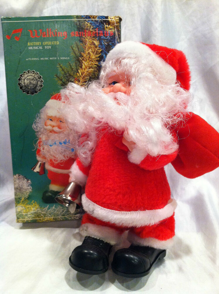 Toys From Santa : Vintage walking quot santa claus musical toy jingles bells