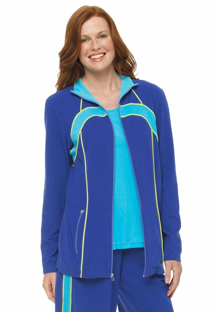 ... Aqua Wavedesign Activewear Athletic Jacket w Pockets Plus 1x | eBay
