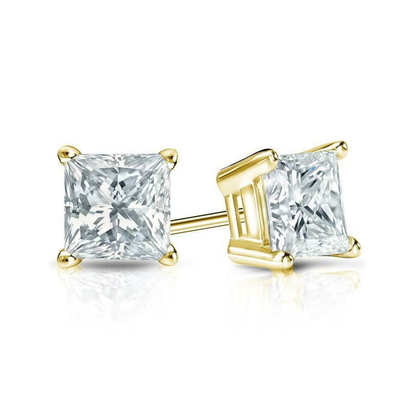 1 ct princess cut earrings 1 25 ct princess cut earrings studs solid 18k yellow gold 3687