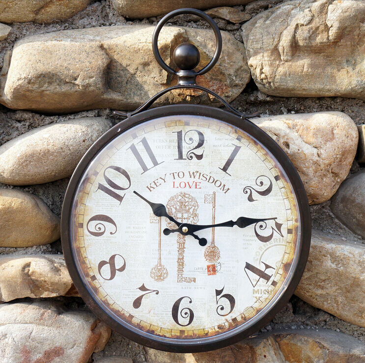 wrought iron wall clock antique retro pocket watch design
