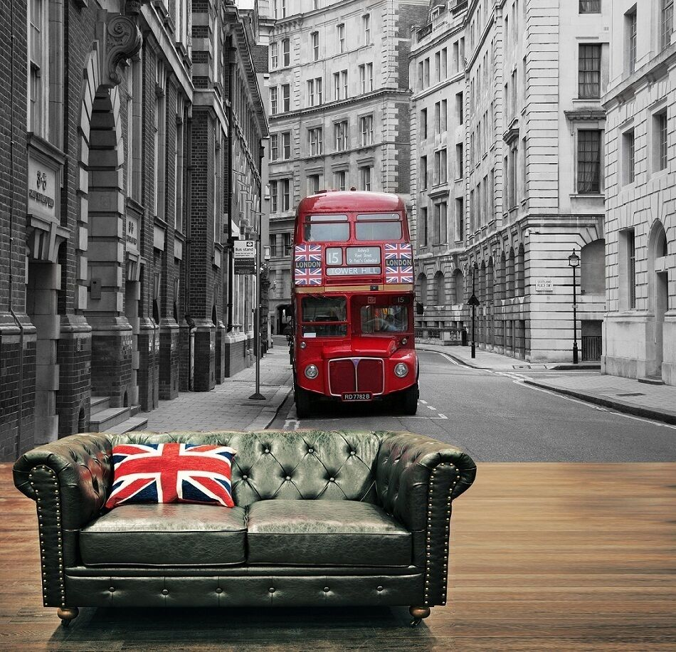 Red london city bus photo wallpaper wall mural 335x236cm for Black and white london mural wallpaper