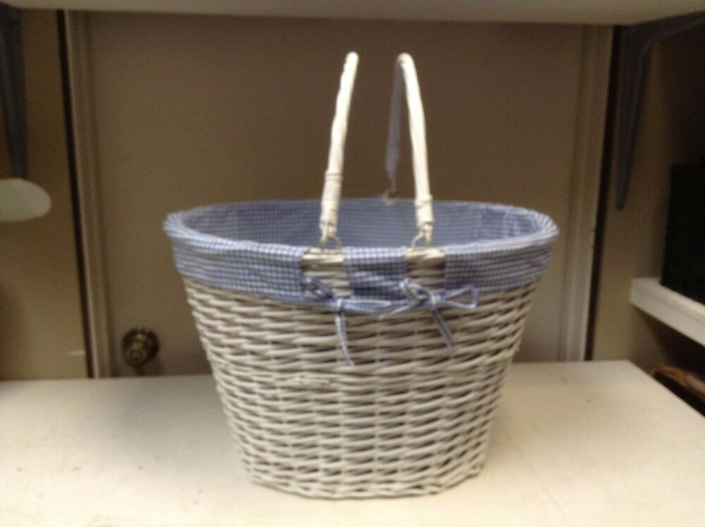 large oval white wicker laundry storage organizer toy bathroom basket blue liner ebay