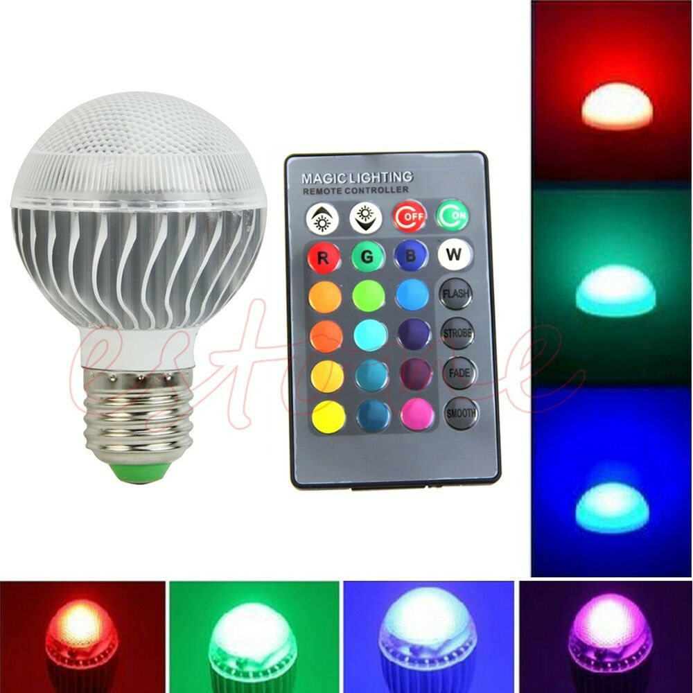 e27 15w rgb led lampe couleur changement ampoule 85 265v avec t l commande ebay. Black Bedroom Furniture Sets. Home Design Ideas