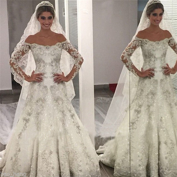 New Bling Bling Princess Bridal Dresses Ball Gowns Off ...