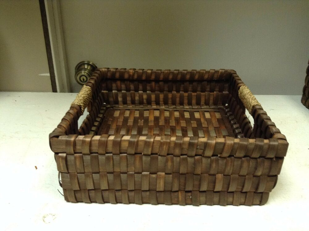 dark brown woven wicker office bathroom storage organizer. Black Bedroom Furniture Sets. Home Design Ideas
