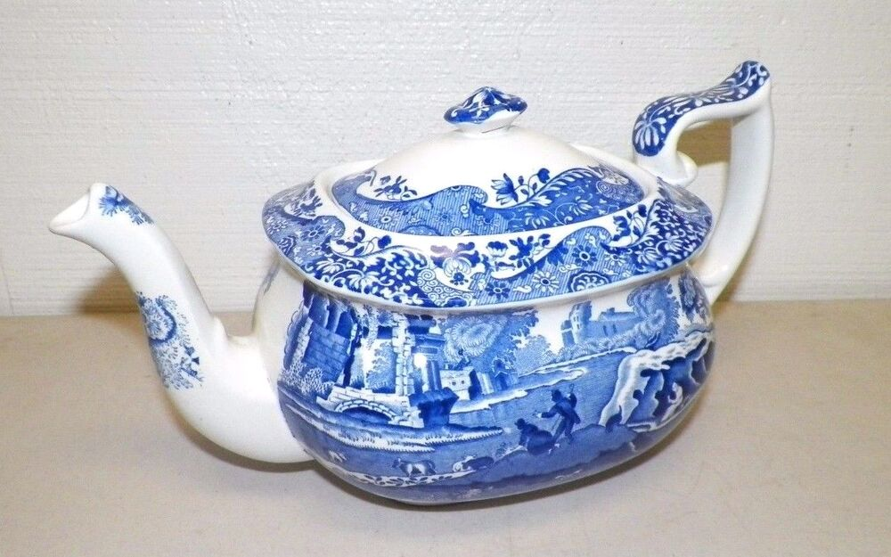 Decorating With Blue And White China: SPODE BLUE AND WHITE ITALIAN DESIGN PORCELAIN TEAPOT MADE