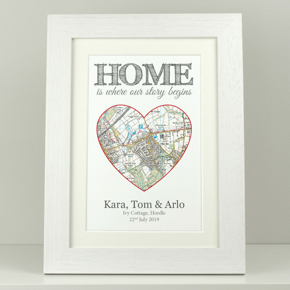 Personalised Home Is Where New Home Gift Print By: Personalised OS Map Print New Home / First 1st House Gift
