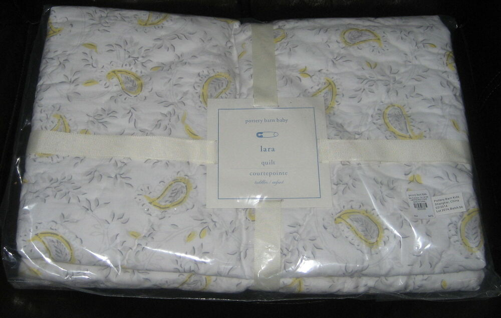 Pottery Barn Baby Lara Toddler Quilt Yellow/Gray