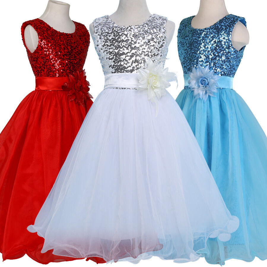 PRINCESS Flower Girls Kids Wedding Pageant Gown Party Bridesmaid ...