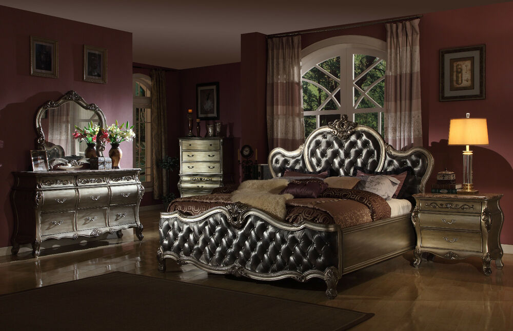 formal traditional antique silver 4p bedroom set cal king 20386 | s l1000