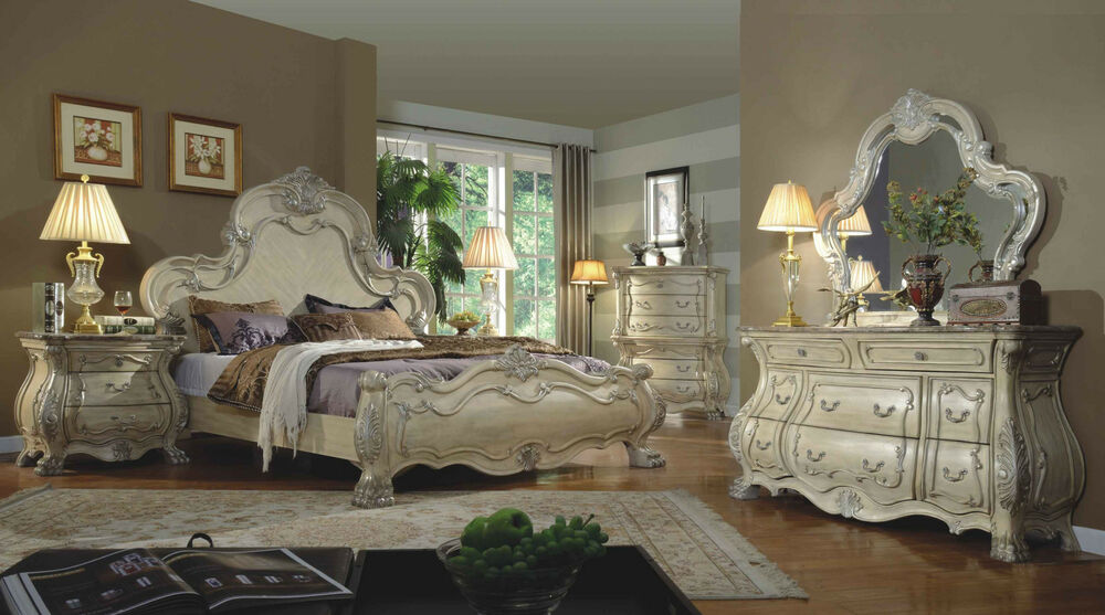 formal traditional antique white 4p bedroom set est king 87958