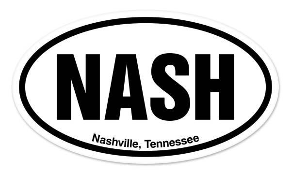 Nash Nashville Tennessee Oval Car Window Bumper Sticker
