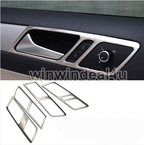 stainless steel car door interior handle panel trim cover for vw jetta mk6 ebay. Black Bedroom Furniture Sets. Home Design Ideas