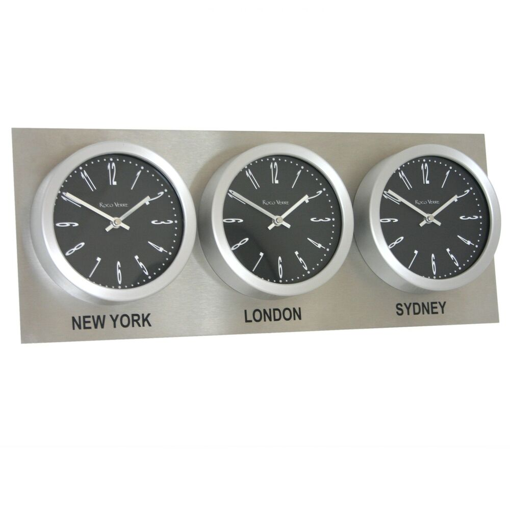 Roco Verre Time Zone 3 Dial Wall Clocks 18cm Stainless