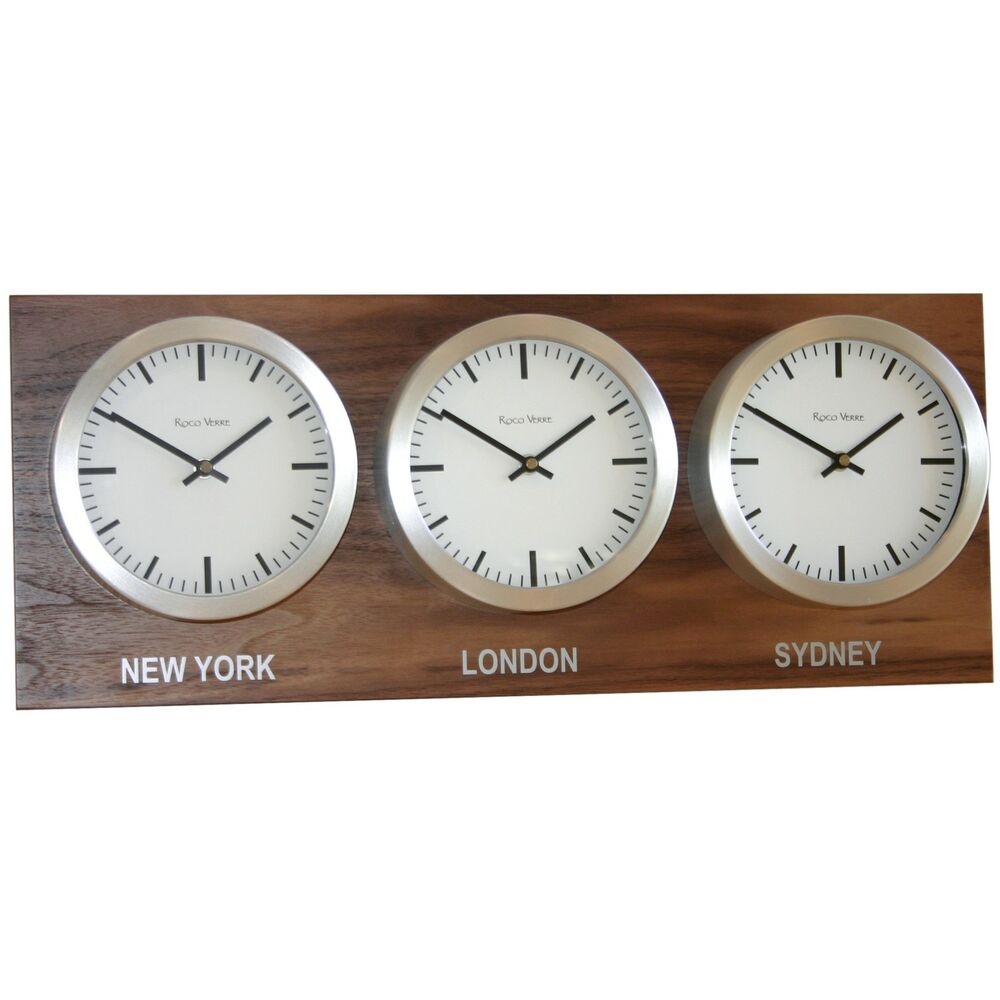 Roco verre custom back plated time zone wall clocks range for Time zone wall clocks australia