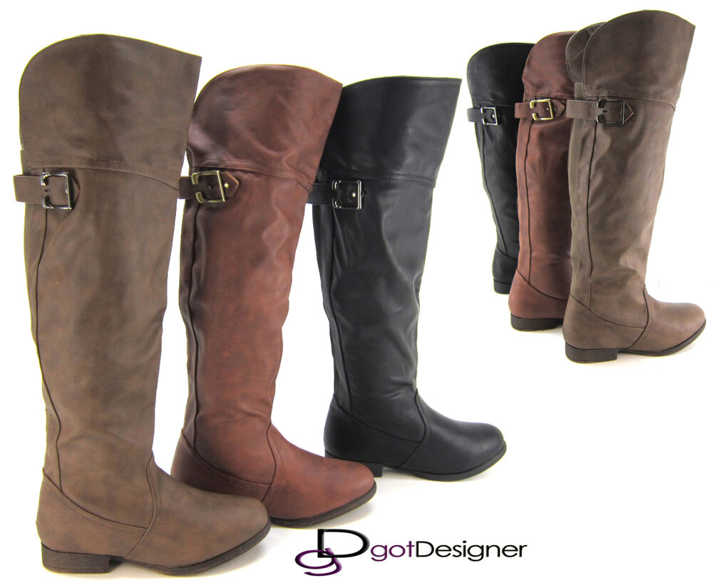 Innovative  Womens Military Combat Fashion Boots Lace Up Knee High Low Heel Boot